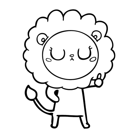 Indifferent lion with eyes closed cartoon Illustration