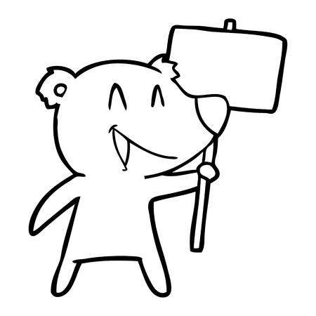 Protester bear cartoon Stock Vector - 95648533