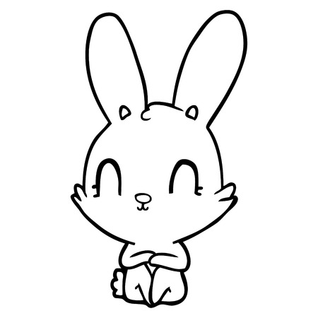 Gleeful cute rabbit cartoon