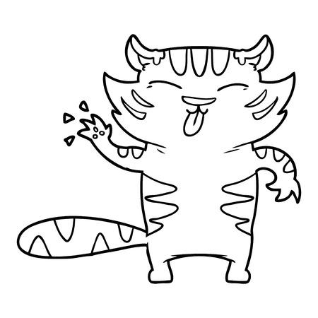cartoon white tiger Vector illustration.