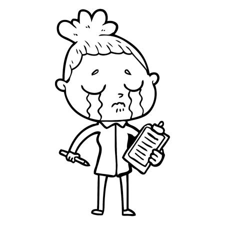 cartoon crying saleswoman Vector illustration.
