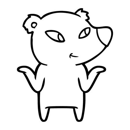 cute cartoon bear shrugging shoulders Ilustração