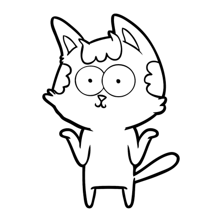 Contented kitten but has shrugging shoulders cartoon 向量圖像