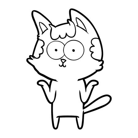 Contented kitten but has shrugging shoulders cartoon Ilustração