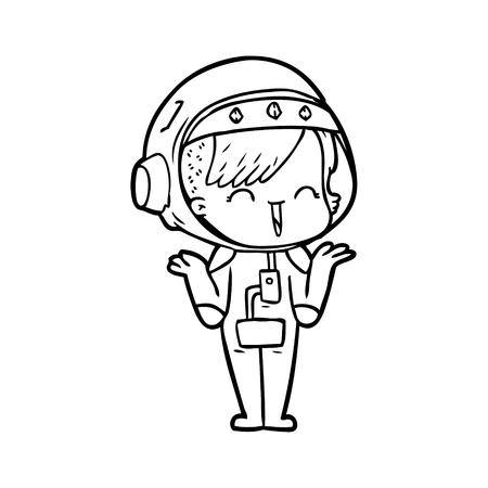 happy cartoon space girl shrugging shoulders Banque d'images - 95692067