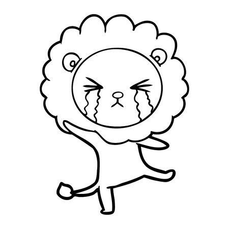 cartoon crying lion