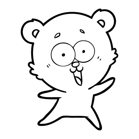 Laughing and cuddly teddy bear cartoon
