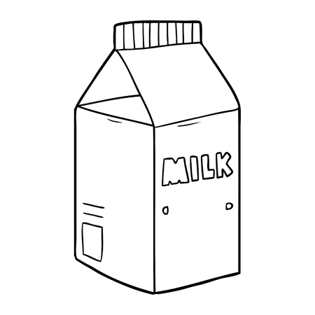 Simple milk carton box cartoon