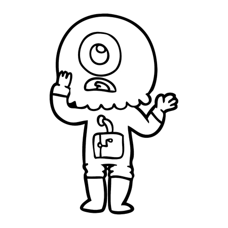 Hand drawn worried cartoon cyclops alien spaceman