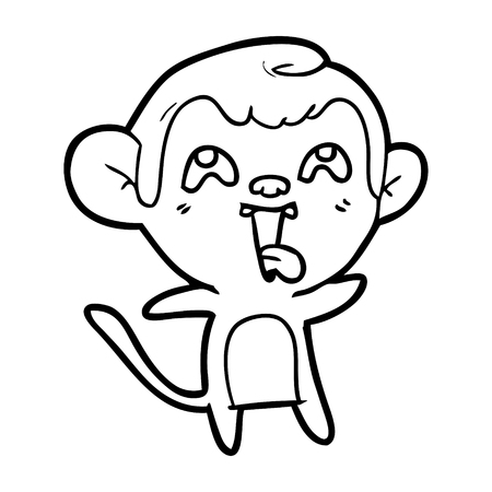 Hilarious but cute monkey cartoon Ilustração
