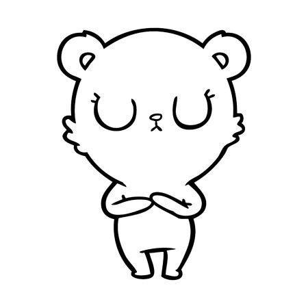 peaceful cartoon polar bear Vector illustration.