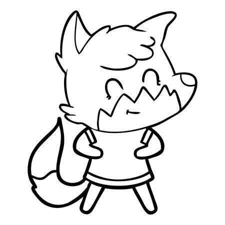 Grinning and cute fox cartoon Illustration