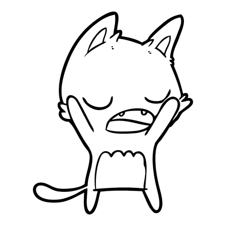 Yawning kitten while arms stretched cartoon