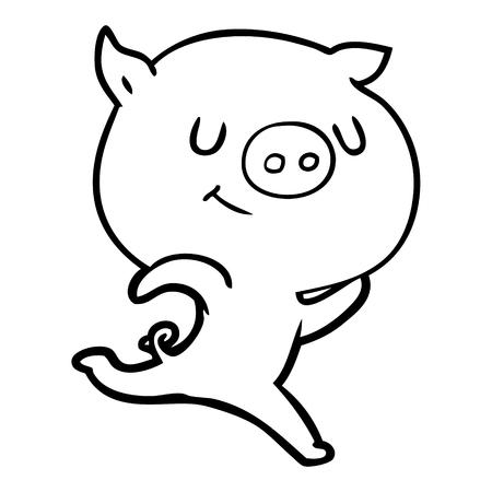 手描きの幸せな漫画豚ランニング