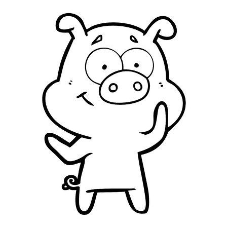 Cute and bubbly pig cartoon