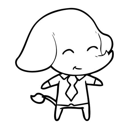 Hand drawn cute cartoon boss elephant