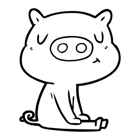 Hand drawn cartoon content pig meditating