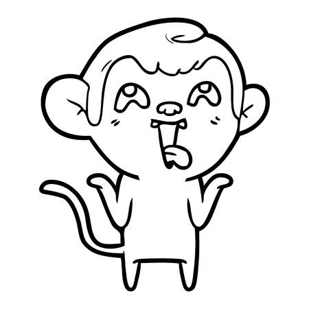 Crazy monkey while shrugging shoulders cartoon Çizim