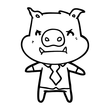 angry cartoon pig boss Vector illustration. Foto de archivo - 95692097
