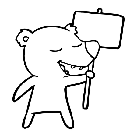 Cute bear with teeth out and holding a blank sign board cartoon
