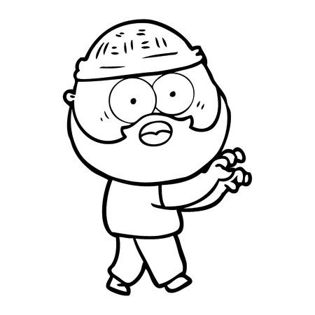 Hand drawn cartoon bearded man grasping  イラスト・ベクター素材