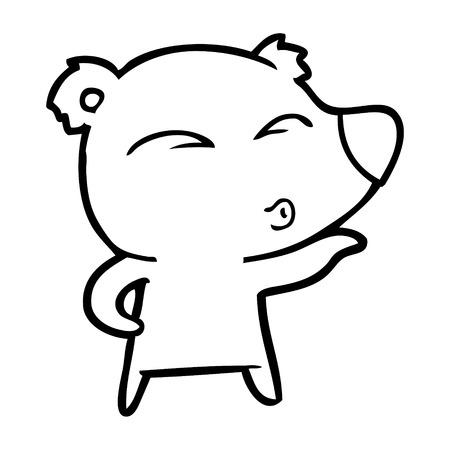 cartoon whistling bear Vector illustration.