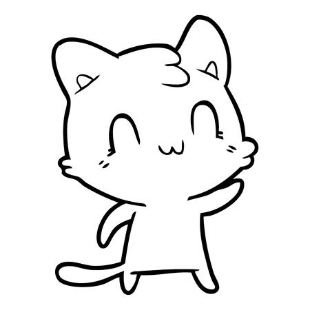 Cuddly and cute kitten cartoon Ilustrace