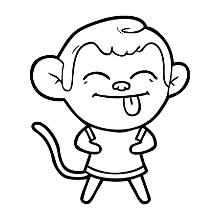 funny cartoon monkey Vector illustration.