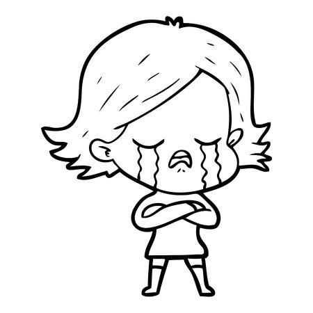 Beautiful girl wailing cartoon