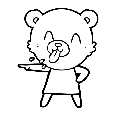 Hand drawn rude cartoon bear pointing