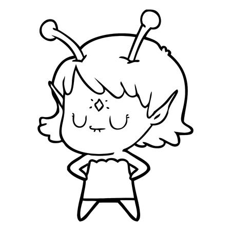Pretty alien girl cartoon with a diamond on her forehead Illustration