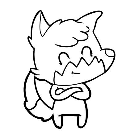 Cunning but friendly looking fox cartoon Ilustração