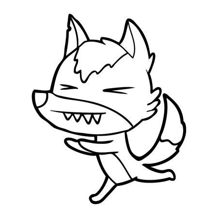 성 난 늑대 벡터 일러스트 레이 션을 실행입니다. 일러스트