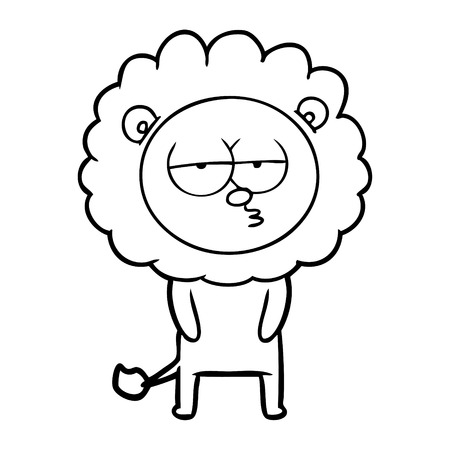 Hand drawn cartoon tired lion