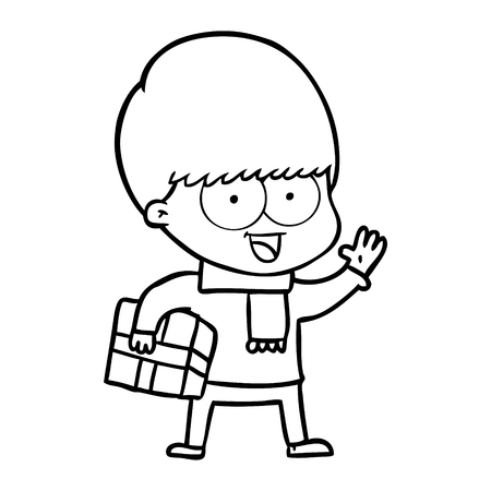 Niño alegre de dibujos animados con un regalo y bufanda Foto de archivo - 95692922