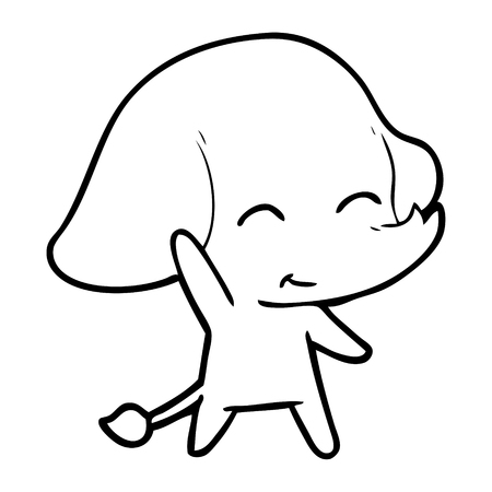 Cute elephant with one arm raised cartoon Illusztráció