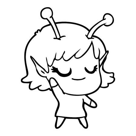 Delighted pretty alien girl cartoon