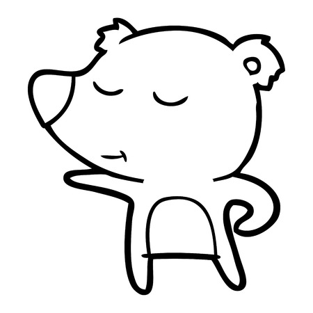 Carefree bear pointing on its right cartoon Ilustração