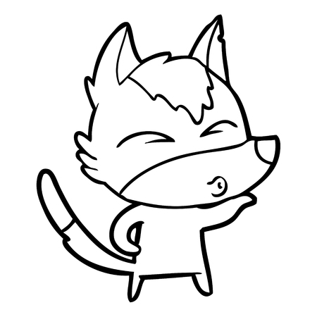 Whistling cute fox cartoon with one arm up