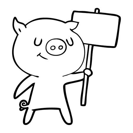 Contented cuddly pig with placard