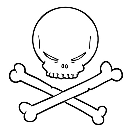 cartoon skull and crossbones Vector illustration.