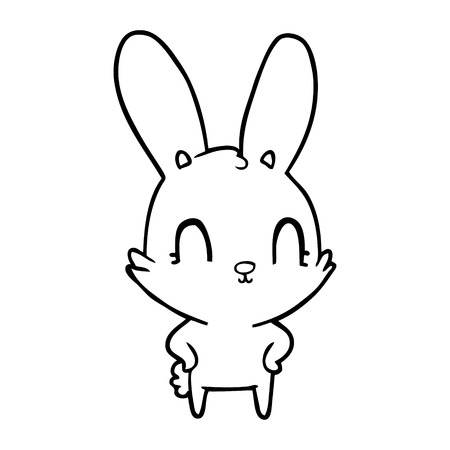 Cute and fluffy cartoon rabbit