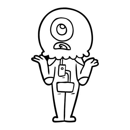 cartoon cyclops alien spaceman shrugging shoulders