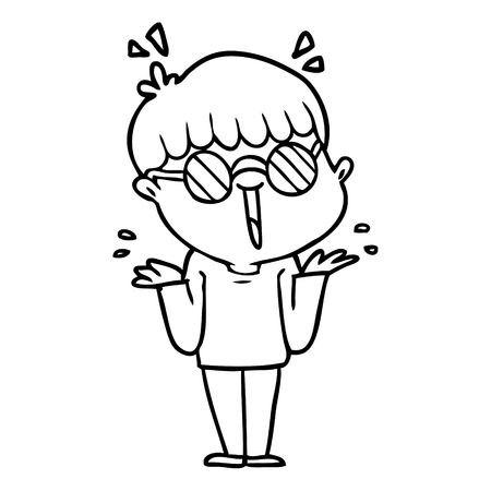 Sweaty and excited cartoon boy wearing spectacles Illustration