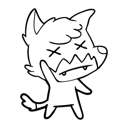 Cute knocked out fox cartoon