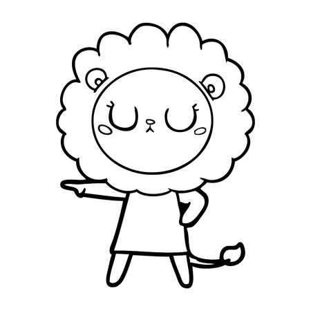 Intimidating lion with an arm pointing on its right and another on its waist.