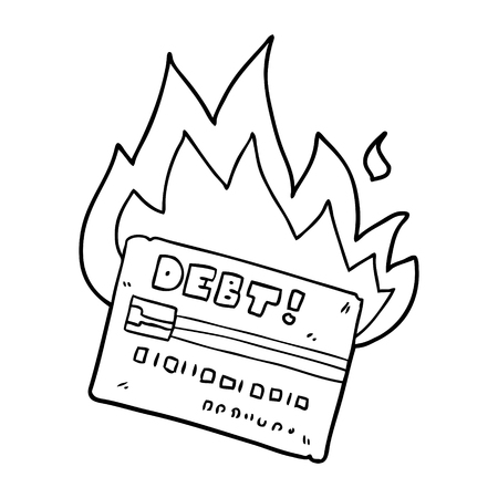 Hand drawn burning credit card cartoon