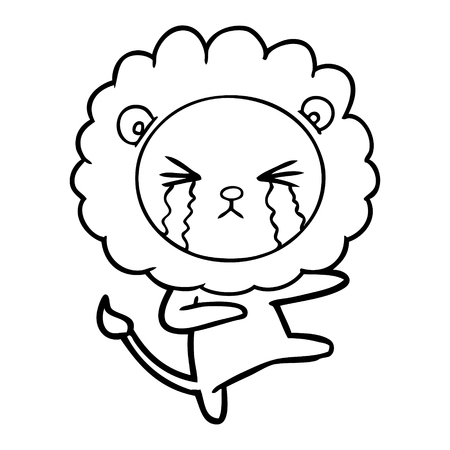 Weeping but dancing lion that seems to be in pain cartoon