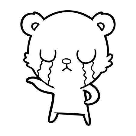 Weeping sad cartoon bear Illustration