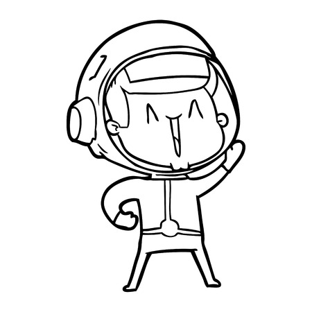 Gleeful and excited space man cartoon